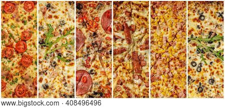 Close-up Of Different Types Of Pizza. Fresh Baked Italian Pizza With Deliciouse Toppings Like Tomato