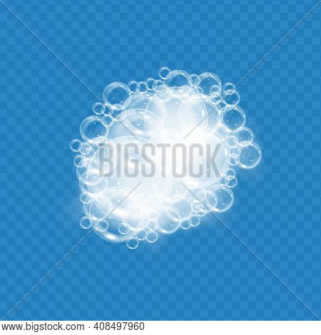 Bath Foam With Soap Bubbles Isolated On Transparent Background. Realistic Soap Sud Texture. Vector I