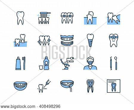 Dentistry Flat Line Icon Set Blue Color. Vector Illustration Symbol For Dental Clinic Design. Includ
