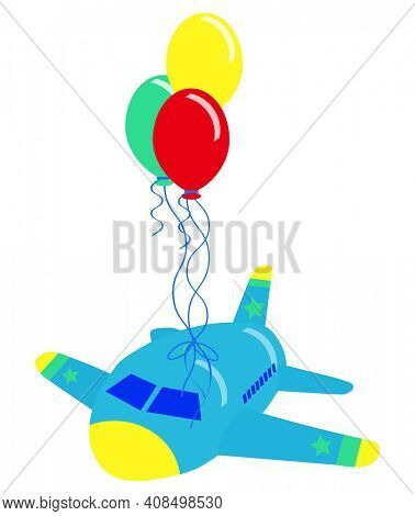 Balloon Powered Airplane Gender Neutral Illustration on White with Clipping Path
