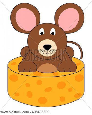 Cheese Mouse Illustration Isolated on White with Clipping Path