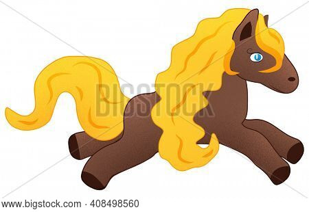 Jumping Kawaii Horse with Long Yellow Mane and Tail Illustration on White with Clipping Path