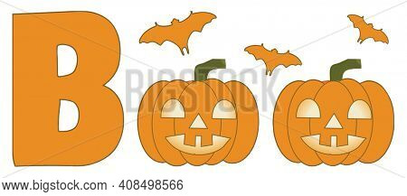 Boo Pumpkin and Bats Halloween Illustration Isolated on White with Clipping Path