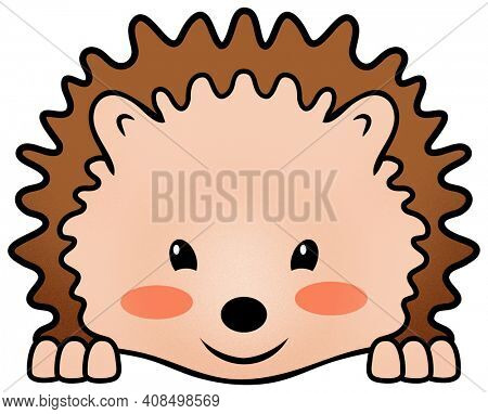 Blushing Hedgehog Kawaii Illustration Isolated on White with Clipping Path