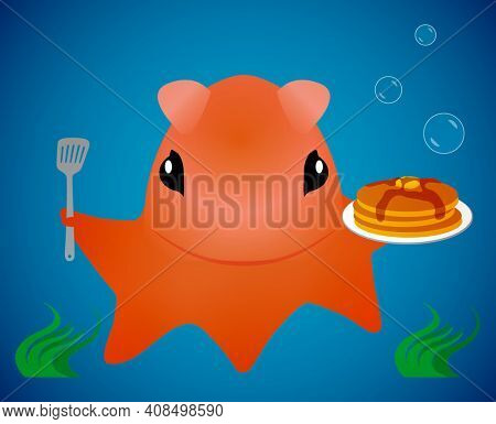 Opisthoteuthis AKA Flapjack Octopus with Pancakes Illustration Isolated on Blue with Clipping Path