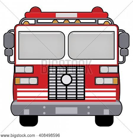 Red Firetruck Illustration Isolated on white with Clipping Path for Easy Transparent Background.