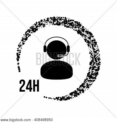 24h Day And Night Support Customer Care Service Icon. Man Woman With Headset. Vector Illustration