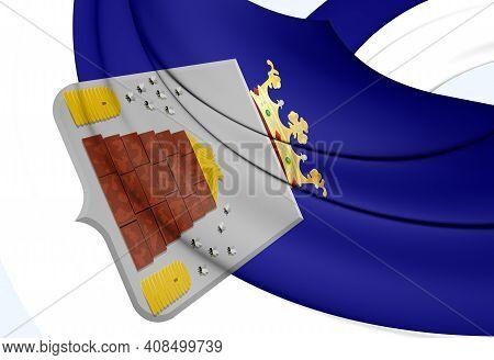 3d Flag Of Hoogeveen (drenthe), Netherlands. 3d Illustration.