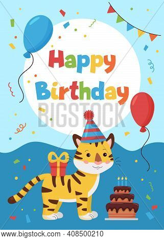 Greeting Card With Tiger, Gift And Balloon. Ideal For Print Postcards, Poster, Cards And Invitations