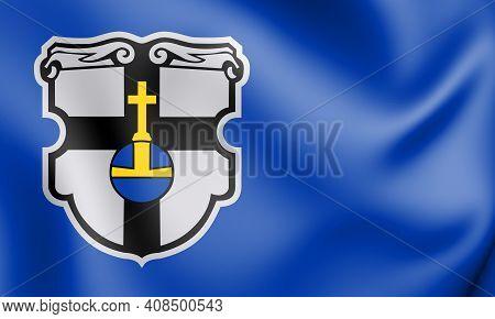 3d Flag Of Meckenheim (north Rhine-westphalia), Germany. 3d Illustration.