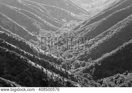Black and white view of Devils Canyon near the Chatsworth neighborhood of Los Angeles, California.