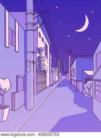 Night Asian Street In Residental Area. Peaceful Alleyway. Vertical Japanese Aesthetics Illustration,
