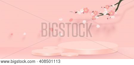 Abstract Minimal Scene With Geometric Forms. Cylinder Podium In Pink Background With Pink Sakura Flo