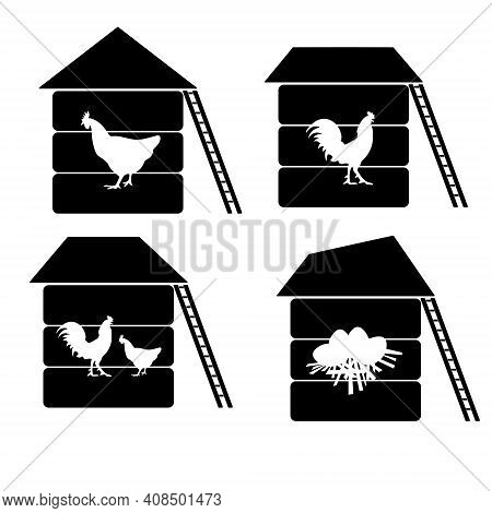 Set Of Silhouettes Of Chicken Coops With Cut Out Contours Of Poultry And Nest With Eggs Vector Illus