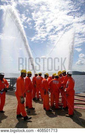 Fire Fighting Training On Oil Platform
