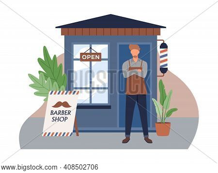 Barber Stand In Front Of A Haircut Shop. Small Business And Self-employment Concept With A Man Stand