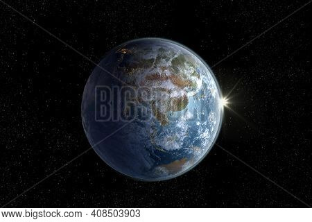 Sunrise On Planet Earth 3d Rendering Showing Asia, Australia, And The Pacific Ocean With The Clippin