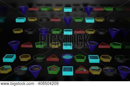 3d Rendering Of Hollow, Different Colored 3d Shapes With A Reflective Substance Inside, All Behind A