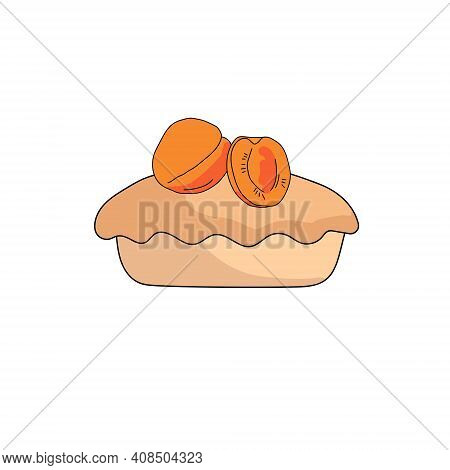 Doodle Style Peach Pie, Sweet Pastry With Bright Juicy Fruit On Top Vector Illustration