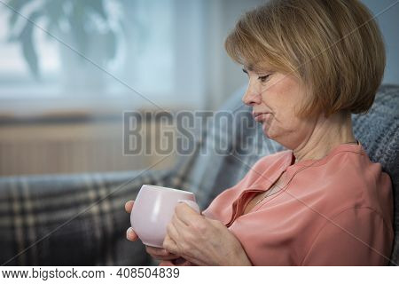 Portrait Of Serious Sad Upset Depressed Pensive Thoughtful Woman, Elderly Senior Frustrated Unhappy