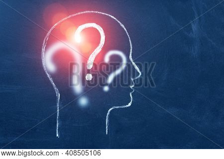 Human Head With Question Mark Symbol. Concept Of Education And Choice, Anonymous And Suspect. Copy S