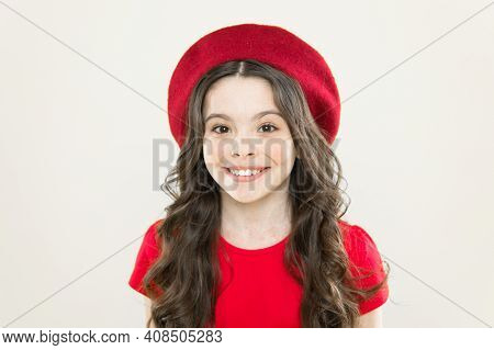 Gorgeous And Beautiful. Happy Kid On Yellow Background. Cute Little Kid With Adorable Smile. Small K