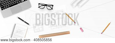 Vector Illustration Workplace Of Architect - Architectural Project, Blueprints, Blueprint Rolls And