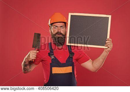 Plasterer Hipster Builder In Hard Hat Hold Blackboard Copy Space. Professional Plasterer. Dreams Com