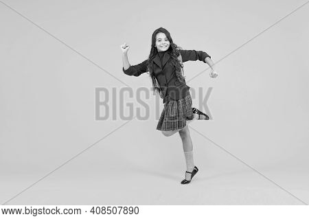 First Steps On Ladder Of Success. Energetic Child Hurry To School. Primary Education. Formal Fashion