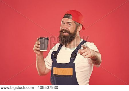 Builder Enjoy Coffee. Handsome Builder Hold Coffee Cup. Man Protective Uniform. Let Me Get My Coffee