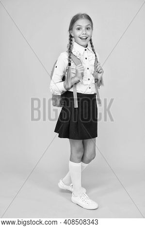 Pupil With Long Braids Going To School. Totally Ready. Schoolgirl Daily Life. School Club. Private S