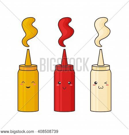 Sauce Kawaii, Vector Funny Character Bottle. Mustard, Ketchup, Mayonnaise. Hot Spice Sauce Pack In P