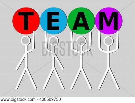Line Art Human Characters Holding Letters Team. Soft Skills Presentation Intro, Team Building, Team