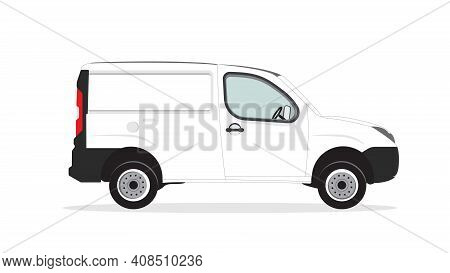 Blank Mini Cargo Car Template Isolated On White. Cargo Van For Mock Up Design And Brand Identity. Ad