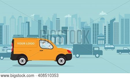 Cartoon Delivery Truck Van With Man Courier. Vector Illustration Of Yellow Truck Delivery Against Th