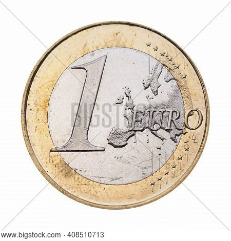 1 Euro Coin Money (eur), Currency Of European Union Isolated Over White Background