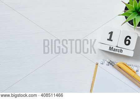 16 Sixteenth Day Of Spring Month Calendar March With Copy Space
