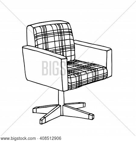Interior Element 80s, A Rotating Upholstered Chair Made Of Checkered Material For Comfort, Cozy, Vec