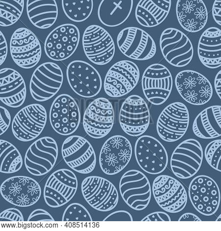 Vector Doodle Easter Eggs Seamless Pattern. Cartoon Hand Drawn Traditional Religious Holiday Symbols