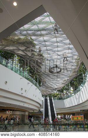Singapore - Dec 31, 2020: Interior Of The Jewal Changi Airport In Singapore. Jewel Changi Airport Is