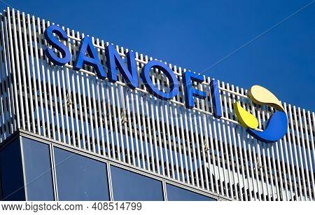 Bucharest, Romania - January 21, 2021: A Logo Of Sanofi, French Multinational Pharmaceutical Company