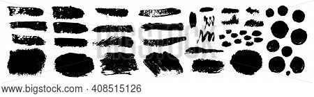 Set Of Grunge Black Paint, Ink Brush Strokes. Brush Collection Isolated On White Background. Trendy