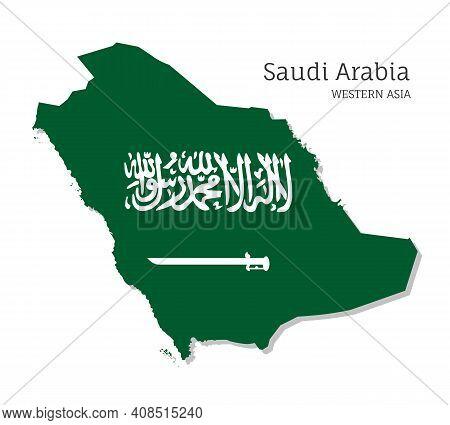 Map Of Saudi Arabia With National Flag. Highly Detailed Editable Map Of Saudi Arabia, Western Asia C