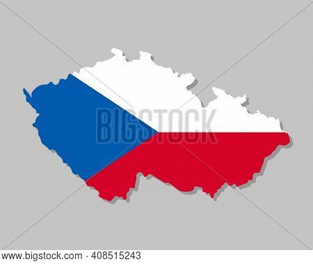 Highly Detailed Map Of Czech With Flag. Silhouette Of European Country Map With Czech Flag Inside Ve