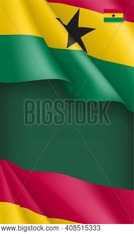 National Waving Flag Of Ghana Background. African Country Backdrop In Patriotic Colors Can Be Used F