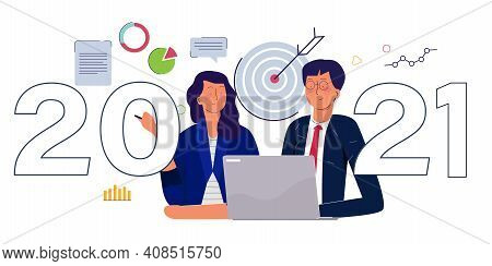2021 Business Target Concept Men And Women Working Together On Laptop Background Of Dart Chart With