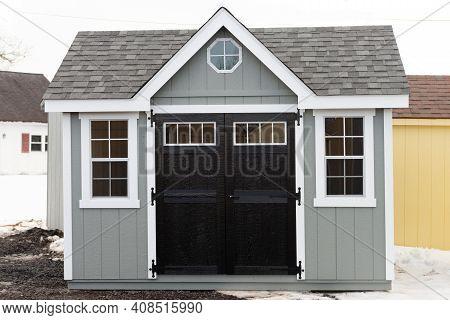 Gray New Shed Wood Roof Door Window New