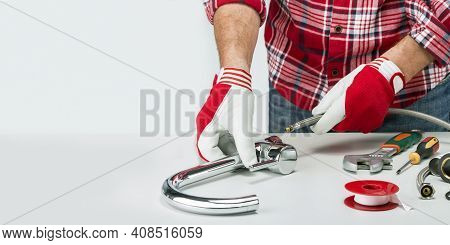 Professional Plumber Banner With Plumber And Tools, Fitting And Water Tap. Faucet Installation With