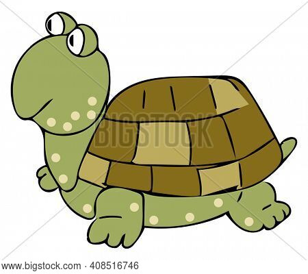Super-Cute Tortoise with Spots Illustration Isolated on White with Clipping Path for Easy Transparent Background.