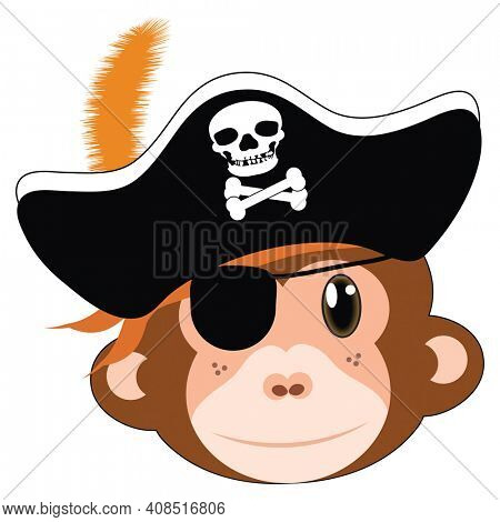 Fun Pirate Monkey with Eye Patch and Pirate Hat Illustration Isolated on White with Clipping Path